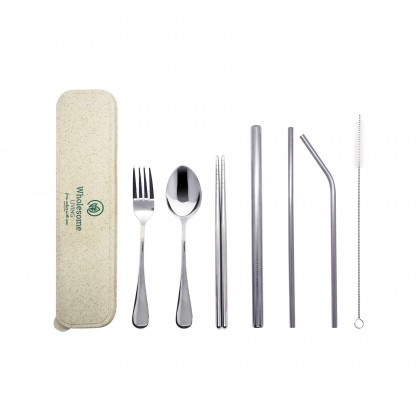 Travel Stainless Steel Cutlery + Straw Set with Eco-Friendly Wheat Straw Box