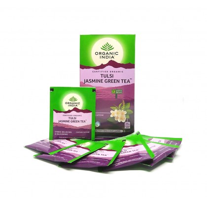 Organic India Certified Organic Tulsi Jasmine Green Tea 1.8g x 25 Packs