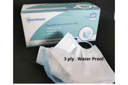 [Ready Stock ] NeshShield 3-ply Surgical Face Mask with Ear Loop x 50pcs