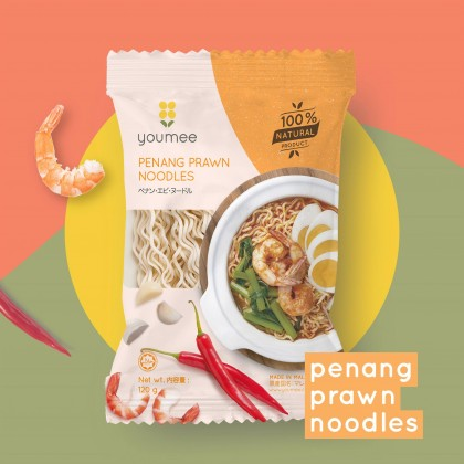 YOUMEE Penang Prawn Noodles 8pkt x 100g - All Natural Instant Noodles (HALAL)