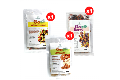 [POWER-UP BUNDLE] GO Wholesome (Mix Fruits & Nuts) 100g  + GO Omega (Mix Nuts) 100g + GO Berry (Mix Organic Berries) 100g  - [Raw & Natural Healthy Snack]